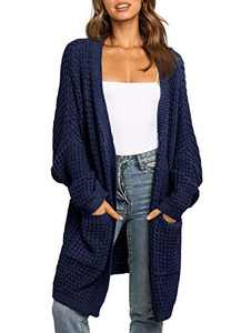 UEU Women's Oversized Long Batwing Sleeve Open Front Chunky Knit Cardigan Sweater with Pockets (NavyBlue, M)