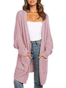 UEU Women's Cozy Long Batwing Sleeve Open Front Chunky Knit Cardigan Sweater with Pockets (LightPink, L)
