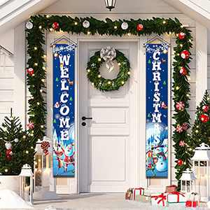 Blue Merry Christmas Porch Sign Decorations for Home Xmas Front Door Decorations, Merry Christmas Door Banner for Outdoor,Christmas Porch Sign Hanging Decorations for Inside Outside Wall