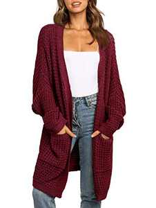 UEU Women's Cozy Long Batwing Sleeve Open Front Chunky Knit Cardigan Sweater with Pockets (Red, L)