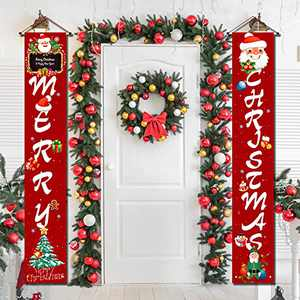 Merry Christmas Porch Sign Decorations Red Xmas Front Door Decorations, Merry Christmas Door Banner for Home,Outdoor Christmas Wall Hanging Decorations for Inside Outside Party