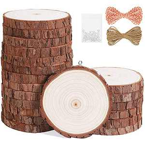 """Natural Wood Slices 20Pcs 3.5""""-4.0"""" Unfinished Wood Kit with Screw Eye Rings, Complete Wood Coaster, Wooden Circles for Crafts Wood Christmas Ornaments Wedding DIY Crafts"""