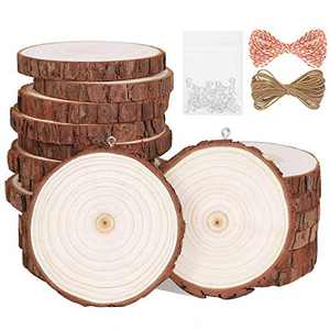 """Natural Wood Slices 20Pcs 2.8""""-3.1"""" Unfinished Wood Kit with Screw Eye Rings, Complete Wood Coaster, Wooden Circles for Crafts Wood Christmas Ornaments Wedding DIY Crafts"""