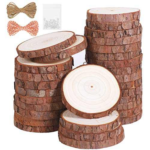 """Natural Wood Slices 30Pcs 2.4""""-2.8"""" Unfinished Wood Kit with Screw Eye Rings, Complete Wood Coaster, Wooden Circles for Crafts Wood Christmas Ornaments Wedding DIY Crafts"""