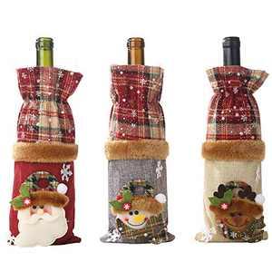 Christmas Buffalo Plaid Wine Bags Wine Bottle Cover,3 Pack Handmade Wine Bottle Topper for Christmas Decorations Gift Bags