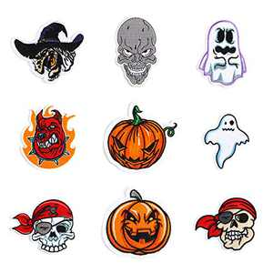 Halloween lron on Patches 10 Pieces, Morale Velcro Patches for Clothing Jeans Jackets Backpack Repair, Aesthetic Halloween Decoration Iron on Decals Embroidery Cloth (1 Set)