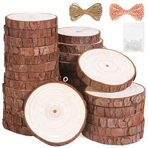 """Natural Wood Slices 30Pcs 2.0""""-2.4"""" Unfinished Wood Kit with Screw Eye Rings, Complete Wood Coaster, Wooden Circles for Crafts Wood Christmas Ornaments Wedding DIY Crafts"""