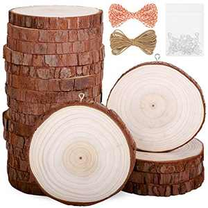 """Natural Wood Slices 20Pcs 3.1""""-3.5"""" Unfinished Wood Kit with Screw Eye Rings, Complete Wood Coaster, Wooden Circles for Crafts Wood Christmas Ornaments Wedding DIY Crafts"""