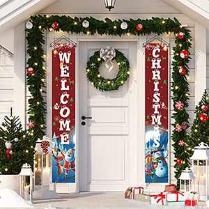 Merry Christmas Decorations Outdoor Red Xmas Front Door Decorations, Merry Christmas Door Banner for Home,Christmas Porch Sign Hanging Decorations for Inside Outside Wall