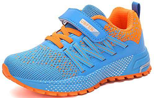 UBFEN Kids Running Shoes Walking Sports Athletic Tennis Sneakers for Boys Girls Blue Orange