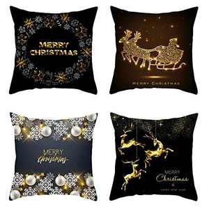aneralied Christmas Throw Pillow Covers,18x18 Inches Christmas Decorations Pillowcase Cotton Linen Cushion Cover Set of 4 for Home Office Sofa Outdoor Couch Decor