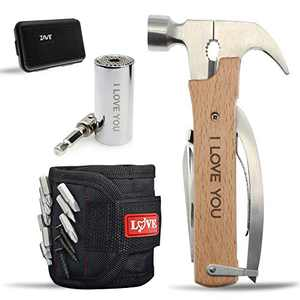 """Stocking Stuffers Christmas Gifts for Husband Him Men,Anniversary Valentines Day Gifts,Gadgets for Men,""""LOVE"""" Fathers Day Love Gifts,All in One Multitool Hammer/Magnetic Wristband/Universal Socket"""