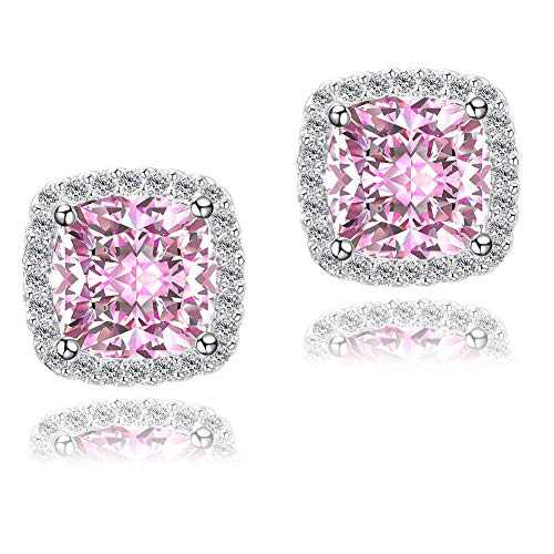 CZ Studs Earrings For Women, Pink Earrings For Women YOMELA White Gold 10MM Princess Cut Halo Square Cubic Zirconia Stud Earrings For Women Girls