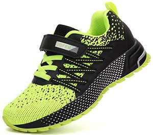 KUBUA Kids Sneakers for Boys Girls Running Tennis Shoes Lightweight Breathable Sport Athletic Green