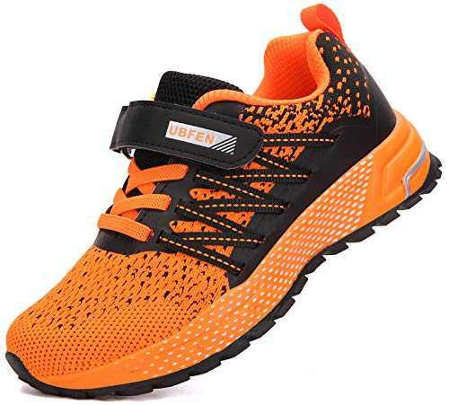 KUBUA Kids Sneakers for Boys Girls Running Tennis Shoes Lightweight Breathable Sport Athletic Orange