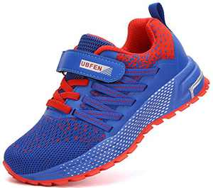 KUBUA Kids Sneakers for Boys Girls Running Tennis Shoes Lightweight Breathable Sport Athletic Blue Red