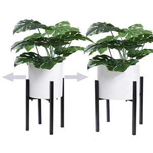 """HOKEMP Black Metal Planter Stand Mid Century Modern Flower Potted Plant Holder Plants (Plant Pot Not Included) (Adjustable Size (9.5"""" - 14""""))"""