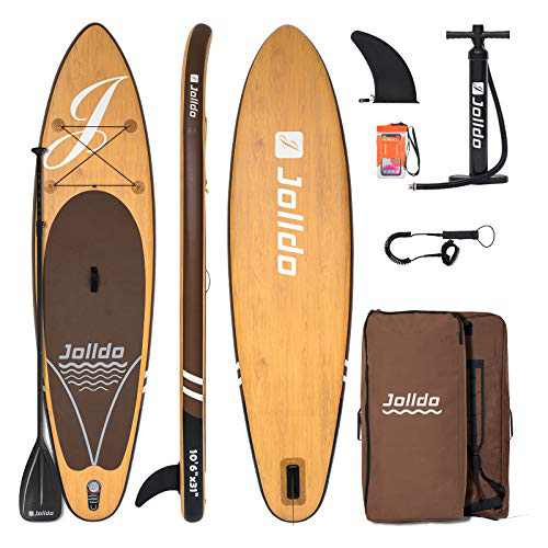 """jolldo Inflatable Stand Up Paddle Board 10'6'×31""""×6"""" Ultra-Light SUP Non-Slip Deck w Paddle, Pump, Backpack, Leash, Waterproof Case, Repair kit, Wood"""
