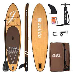 "jolldo Inflatable Stand Up Paddle Board 10'6'×31""×6"" Ultra-Light SUP Non-Slip Deck w Paddle, Pump, Backpack, Leash, Waterproof Case, Repair kit, Wood"