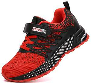 KUBUA Kids Sneakers for Boys Girls Running Tennis Shoes Lightweight Breathable Sport Athletic Red