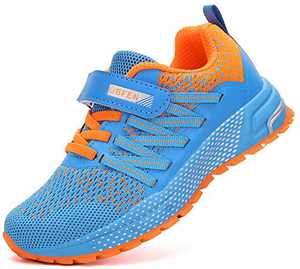 KUBUA Kids Sneakers for Boys Girls Running Tennis Shoes Lightweight Breathable Sport Athletic Blue Orange