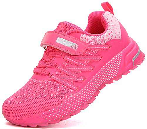 KUBUA Kids Sneakers for Boys Girls Running Tennis Shoes Lightweight Breathable Sport Athletic Pink