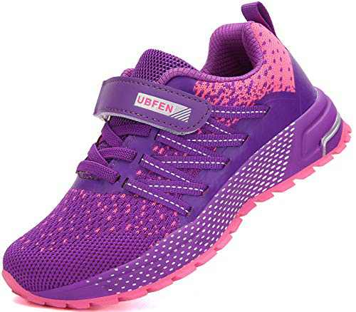 KUBUA Kids Sneakers for Boys Girls Running Tennis Shoes Lightweight Breathable Sport Athletic Purple