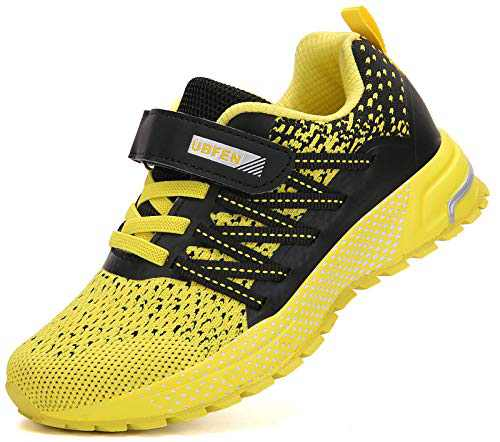 KUBUA Kids Sneakers for Boys Girls Running Tennis Shoes Lightweight Breathable Sport Athletic Yellow