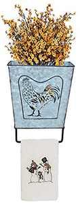 ShabbyDecor Galvanized Metal Farmhouse Bathroom Towel Bar Rustic Towel Holder Toilet Vintage Wall Organizer