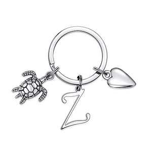 Cute Turtle Initial Charm Keychain, Classic Sea Turtle Keychains for Car Keys(Z)
