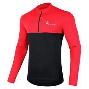 ANIVIVO Men Bike Jersey Long Sleeves with Pockets,Cycling Shirts for Men 1/2 Zipper(Red M)