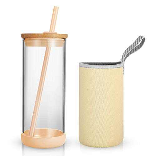 Tronco Iced Coffee Cup Glass Tumbler with Straw and Bamboo Lid Wide Mouth Reusable Smoothie Cup with Straw and Insulator Sleeve Borosilicate Glass Water Bottle with Lid 20oz