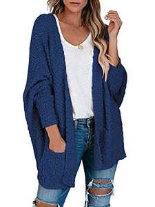 Boncasa Womens Open Front Fuzzy Cardigan Sweaters Batwing Sleeve Lightweight Popcorn Loose Knit Sweater Pockets Navy Blue 2BC30-zanglan-XXL