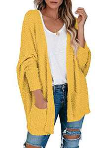 Boncasa Batwing Sleeve Chunky Knit Sweater Fuzzy Popcorn Open Front Long Cardigans for Women with Pockets Yellow 2BC30-huangse-L