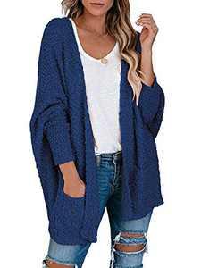 Boncasa Womens Open Front Fuzzy Cardigan Sweaters Batwing Sleeve Lightweight Popcorn Loose Knit Sweater Pockets Navy Blue 2BC30-zanglan-XL