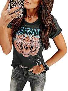 Sofia's Choice Women Tiger Tee Shirt Short Sleeve Graphic Round Neck Casual Cute Tops (Large, B-Tiger Grey)