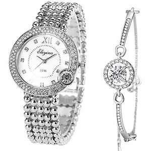 ManChDa Luxury Ladies Watch Iced Out Watch with Quartz Movement Crystal Diamond Classic Fashion Romantic + Jewelry Cuff Bracelet Set (4.Sliver with Sliver)