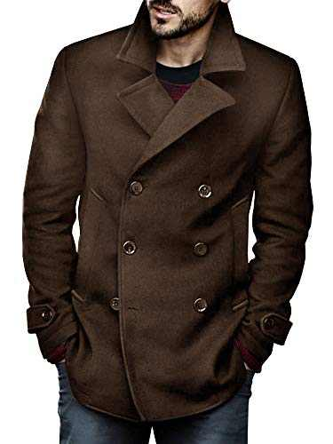 Makkrom Men Pea Coat Double Breasted Business Slim Fit Winter Half Trench Coat