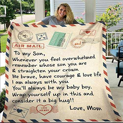 Fleece Blanket to My Son Letter Printed Blanket Dad Mom for Son Air Mail Blanket Son Letter Quilts Positive Encourage Love Son's Flannel Blanket Gifts (Mom Love son-4760in)
