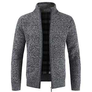 Iynnijoy Mens Solid Color Plus Velvet Knitted Cardigan Thicken Stand Collar Full Zipper Up Jacket Sweater Dark Grey