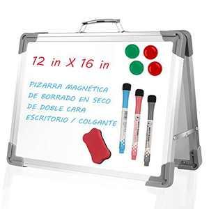 "Dry Erase White Board, Swonuk 16""X12"" Portable Dual-Sided Magnetic Dry Erase White Board Desktop for Office Home School"