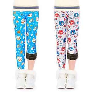 slaixiu Warm Girls Leggings Fleece Lined Winter Thick Printing Kids Pants(SET6_140)