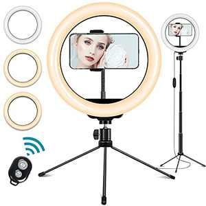 """10"""" Selfie Ring Light with Tripod Stand and Cell Phone Holder, 3 Light Modes & 10 Brightness Level LED Ringlight for Makeup/Live Streaming/YouTube Video/TikTok/Photography"""