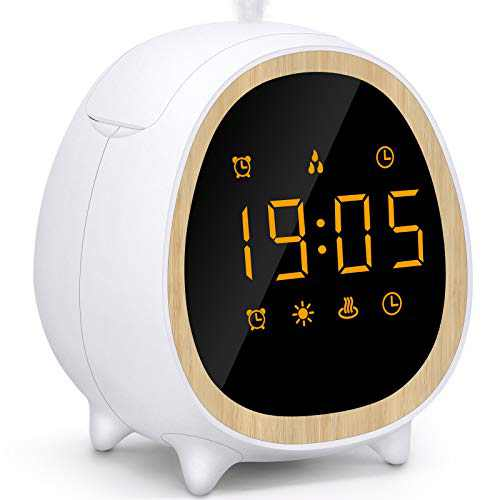 Essential Oil Diffuser Clock, Aromatherapy Diffuser with LED Time Display, Alarm Clock Wake-up Light, 9 Alarm Sounds, Ultra-Quiet Waterless Auto-Off Oil Diffuser for Bedroom, Bedside, Office