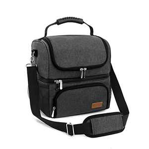 Lunch Bags for Women Men Travel Work School Portable Insulated Lunch Tote Bag 2 Compartments Large Reusable Cooler Bag, Charcoal Gray