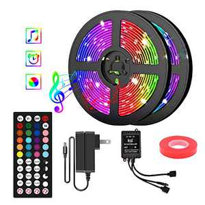 Smart LED Strip Lights 40FT 5050 RGB LED Tape Lights Color Changing Music Sync LED Lights with 44-Key Remote & 12V UL Listed Adapter for Home Bedroom Kitchen TV Party DIY Indoor Decoration