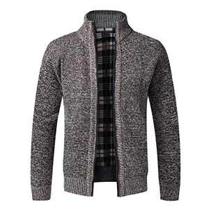 Iynnijoy Mens Solid Color Plus Velvet Knitted Cardigan Thicken Stand Collar Full Zipper Up Jacket Sweater Coffee