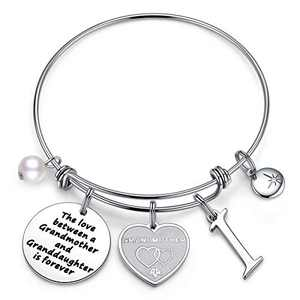 Anoup for Grandma, Stainless Steel Grandma Gifts I Initial Charm Bracelet Grandma Bracelet Jewelry for Grandma