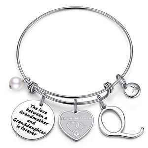 Anoup Grandma Gifts Grandma Bracelet, Stainless Steel for Grandma Q Initial Charm Bracelet Grandma Gifts Bracelet Jewelry Grandma Gifts for Mothers Days