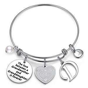 Anoup for Grandma, Stainless Steel Grandma Gifts Grandma Bracelet Grandma D Initial Charm Bracelets for Grandma